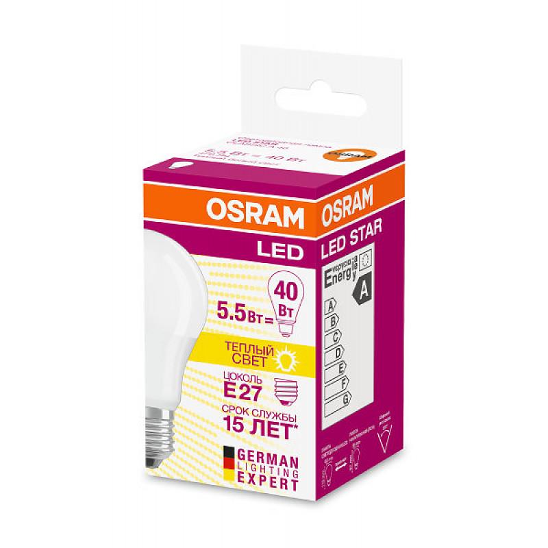 LED STAR CLA40 5,5W/827 230V FR E27 OSRAM фото 1