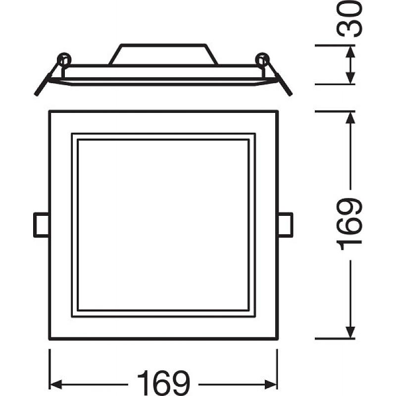 DL SLIM SQ155 12W/3000K WT IP20 LEDVANCE фото 4