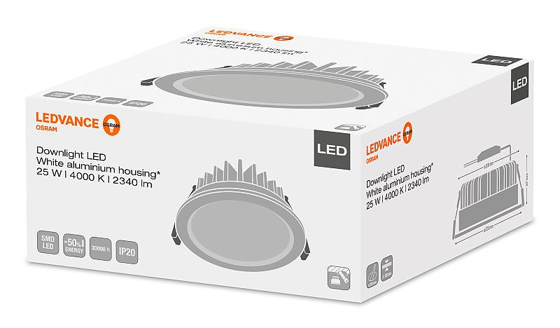 DOWNLIGHT LED 25W/4000K 230V IP20 LEDVANCE OSRAM фото 2