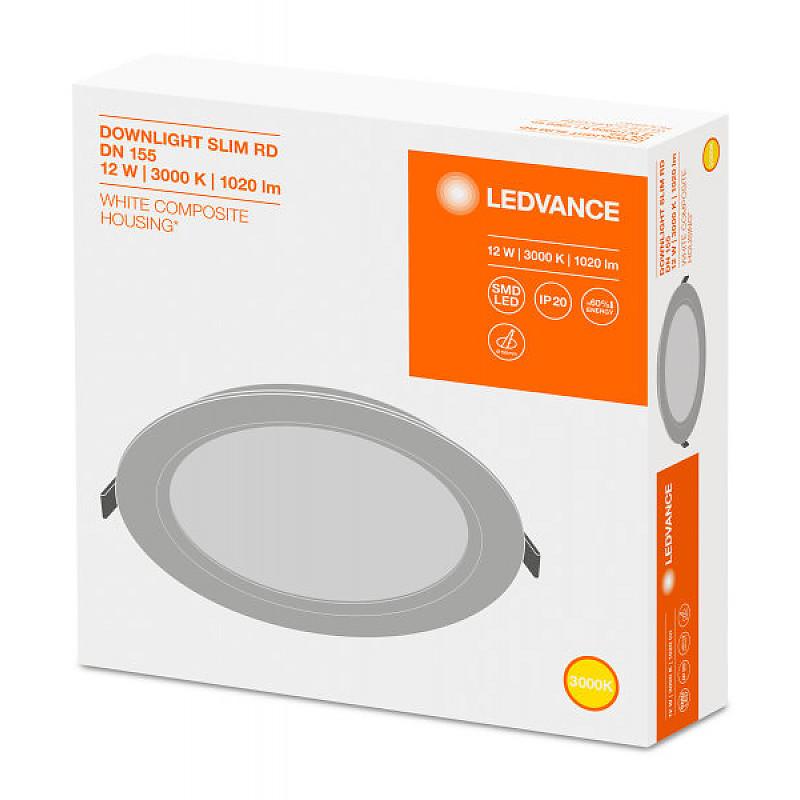 DL SLIM DN155 12W/3000K WT IP20 LEDVANCE фото 1