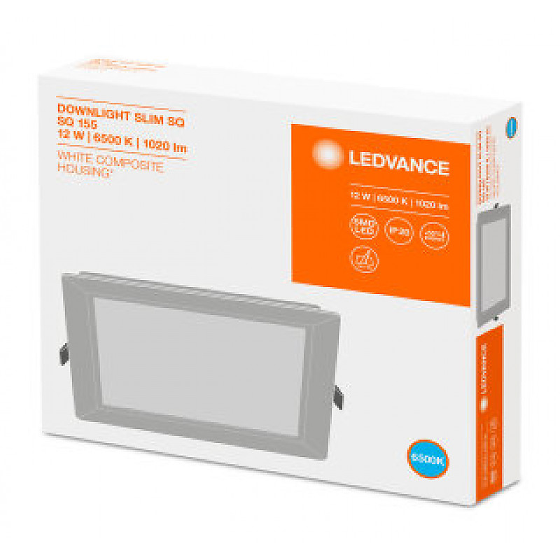 DL SLIM SQ155 12W/6500K WT IP20 LEDVANCE фото 4